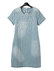 Women's Casual/Daily / Plus Size Street chic Denim Dress,Solid Round Neck Above Knee Short Sleeve Blue Cotton / Polyester / Spandex Spring