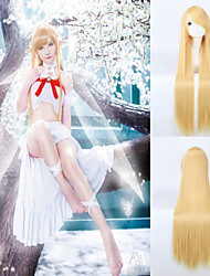 Wig Cosplay Anime 100cm Long Length Yellow Color Straight Synthetic Wigs Heat Resistant  Perruque Lolita Wig