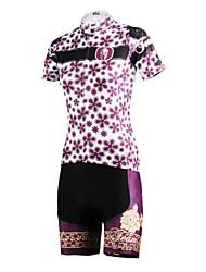 ILPALADINO Cycling Jersey with Shorts Women's Short Sleeves Bike Jersey Shorts Clothing Suits Quick Dry Breathable Back Pocket 100%
