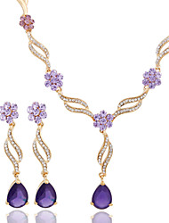 Fashion Wedding Accessory 18K Gold Plated Crystal African Beads Jewelry Set With Earring(Necklace Earring)