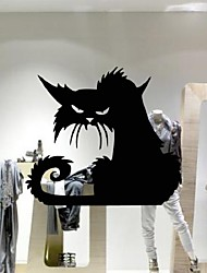 cheap -Popular Vinyl Removable 3D Wall Stickers Halloween Black Cats Decor Decals For Walls Decal Wall Murals