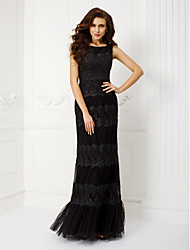 cheap -Sheath / Column Scoop Neck Floor Length Tulle Prom Black Tie Gala Dress with Appliques Side Draping by TS Couture®