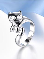 preiswerte -Damen Sterling Silber / Krystall Panda Statement-Ring - Tier Ohne Verschluss / Modisch / Einstellbar Silber Ring Für Party / Alltag /