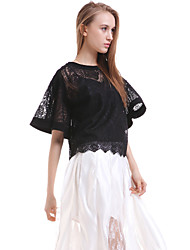 cheap -Women's Daily Casual Blouse,Solid Round Neck Short Sleeves Silk Translucent