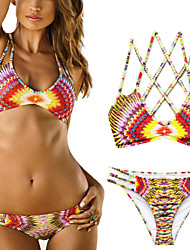 Women's Boho Bandeau Bikinis,Color Block Wireless/Padless Bra Nylon/Spandex Multi-color
