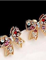 baratos -Mulheres Zircônia Cubica Brincos Curtos - Gema, Zircônia Cubica, Imitações de Diamante Cruz, Com Laço Luxo Dourado / Arco-Íris Para