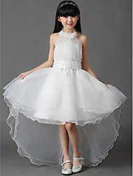 A-Line Asymmetrical Flower Girl Dress - Cotton Organza Sleeveless Halter with Bow(s) Pleats