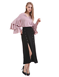 cheap -Women's Daily Spring Blouse,Solid V Neck Long Sleeves Silk Polyester Opaque