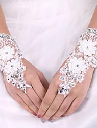 cheap -Silk Elastic Satin Wrist Length Glove Bridal Gloves With Bow