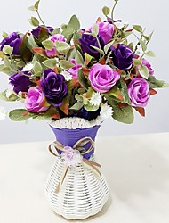2 PCS British Roses and Vase Artificial Flowers Home Decoration