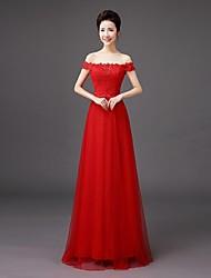 abordables -vaina / columna fuera del hombro palabra de longitud vestido de dama de honor con bordado de encaje por qqc nupcial