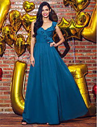 cheap -A-Line V-neck Ankle Length Georgette Prom Formal Evening Dress with Pleats by TS Couture®