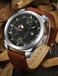 Hombre Reloj de Pulsera Cuarzo Cuarzo Japonés Calendario Resistente al Agua Piel Banda De Lujo Negro Marrón # 1 # 2 # 3 # 4 # 5