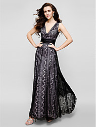 cheap -Sheath / Column V-neck Ankle Length Lace Prom Formal Evening Black Tie Gala Dress with Lace by TS Couture®