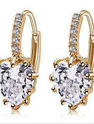 Women's Drop Earrings Love Fashion Zircon Cubic Zirconia Gold Plated Jewelry For