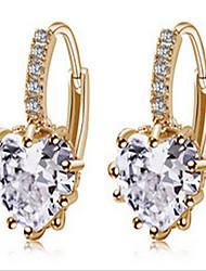 cheap -Women's Zircon Cubic Zirconia Gold Plated Drop Earrings - Love Fashion Gold Screen Color Earrings For