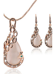 cheap -Women's Rose Gold / Cubic Zirconia Cute Peacock Jewelry Set Earrings / Necklace - Party / Work / Fashion Peacock Rose Gold Jewelry Set For