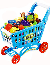 cheap -Toy Car Pretend Play Trolley Toy Toys Vegetables Shopping Cart Fruit Simulation Plastic Pieces