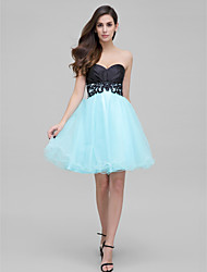 cheap -A-Line Sweetheart Short / Mini Satin Tulle Cocktail Party Prom Dress with Appliques by TS Couture®