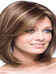 cheap -Popular Long Straight Light Brown with Strips Synthetic Hair Wig