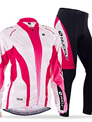 cheap -Nuckily Men's Women's Long Sleeves Cycling Jersey with Tights - Red Blue Floral / Botanical Geometic Bike Clothing Suits, Thermal / Warm,