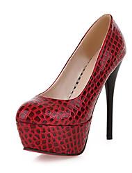 preiswerte -Damen Schuhe Kunstleder Frühling Sommer Stöckelabsatz für Kleid Party & Festivität Weiß Schwarz Rot Blau