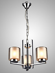 SL® Iron Electroplated Chandelier with Glass Shade Classic Candle Lighting Lamp 3 Heads