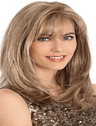 Popular Style European Lady Brown Color Long Curly Synthetic Wigs