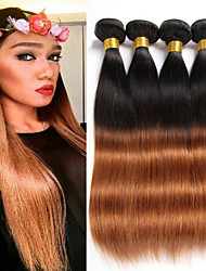 cheap -Brazilian Hair Straight Human Hair Weaves 4pcs Odor Free Silky Hot Sale Best Quality Natural Ombre Hair Weaves Christmas Gifts Christmas
