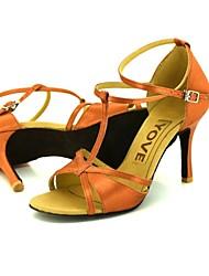 cheap -Women's Latin Salsa Leather Silk Sandal Heel Professional Buckle Ribbon Tie Customized Heel Customizable