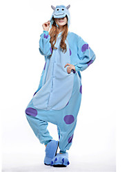 cheap -Kigurumi Pajamas Blue Monster Onesie Pajamas Costume Polar Fleece Blue Cosplay For Adults' Animal Sleepwear Cartoon Halloween Festival /