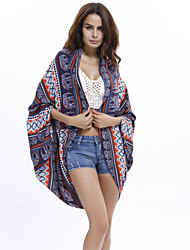 Women's Boho Fashion Print Sun Pretection Sea Beach Cape Sleeve Shirt