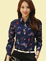 cheap -Women's Shirt Collar Butterfly Print Long Sleeve OL/Daily Chiffon Shirt