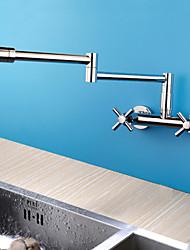 Недорогие -Современный Горшок Filler На стену Ручная лейка входит в комплект Широко распространенный Вращающийся Керамический клапан Две ручки двумя