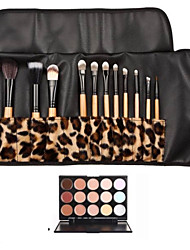 cheap -12pcs Goat/Pony/Horse hair Makeup Brushes set concealer brush shadow/brow/eyeliner/eyelash/lip brush+15 color concealer Leopard Package