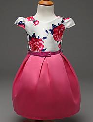 abordables -Robe Fille de Polyester Eté Manches Courtes Fleur Fuchsia