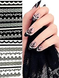 cheap -6PCS Black Lace Edge Nail Stickers