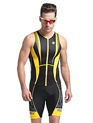 cheap -Nuckily Men's Short Sleeves Tri Suit - Yellow Geometic Bike Anatomic Design, Ultraviolet Resistant, Breathable, Spring Summer, Polyester