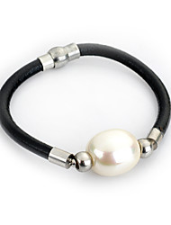 cheap -Lureme® Elegant Style Natural Pearl Leather Chain Magnet Clasp Bracelets for Women Jewelry