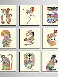 E-HOME® Stretched Canvas Art Colour Patterned Animal Series Decoration Painting MINI SIZE One Pcs