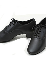 cheap -Men's Latin Shoes / Jazz Shoes / Dance Sneakers Leather Flat Chunky Heel Customizable Dance Shoes Black / Performance
