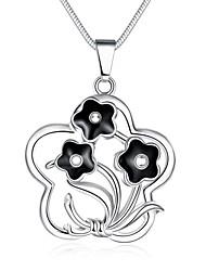 Недорогие -Жен. Геометрической формы Цветы Сердце Мода Ожерелья с подвесками Ожерелья-цепочки Медь Серебрянное покрытие Ожерелья с подвесками