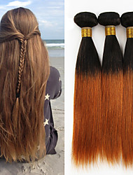 "3 Bundles 150g 8""-26""Peruvian Straight Virgin Hair Unprocessed Wefts Ombre #1B/30 Color Human Hair"