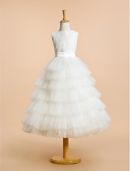 cheap -A-Line Tea Length Flower Girl Dress - Lace Tulle Sleeveless Jewel Neck with Lace by LAN TING BRIDE®