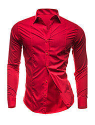 Men's Casual/Daily Plus Size Simple Spring Fall Shirt,Solid Classic Collar Long Sleeves Cotton