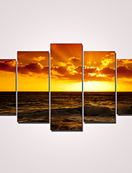 cheap -Rolled Canvas Prints Modern Five Panels Horizontal Wall Decor Home Decoration