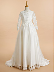 A-Line Sweep / Brush Train Flower Girl Dress - Lace Tulle Long Sleeves V-neck with Appliques by LAN TING BRIDE®