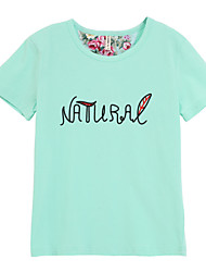 baratos -Para Meninas Camiseta Verão Algodão Manga Curta Floral Azul Claro