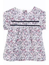 abordables -Robe Fille Coton Printemps Eté Manches Courtes Fleur Blanc