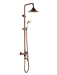 cheap -Antique Wall Mounted Rain Shower Handshower Included Ceramic Valve Three Holes Two Handles Three Holes Rose Gold, Shower Faucet